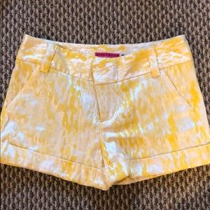 Alice and Olivia yellow pattern shorts